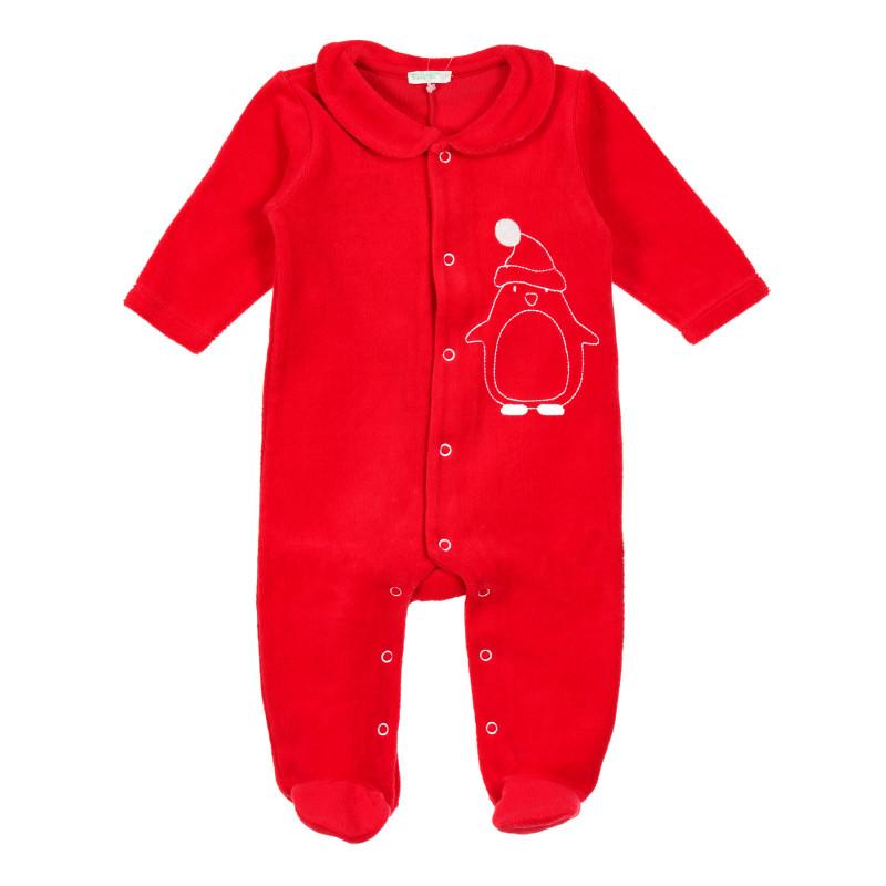 Salopetă roșie de pluș, de Crăciun, pentru bebeluși  213224