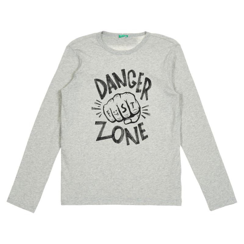 Bluză din bumbac gri, cu mânecă lungă, cu inscripție Danger zone  213239