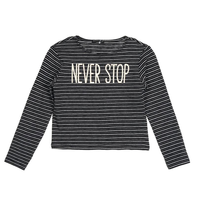 Bluză cu dungi și mâneci lungi, alb-negru  213265