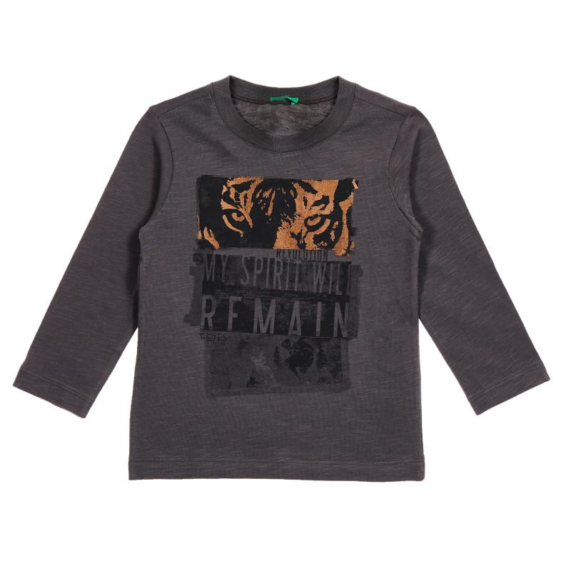 Bluză din bumbac cu mâneci lungi gri închis, cu inscripție și tigru  213290