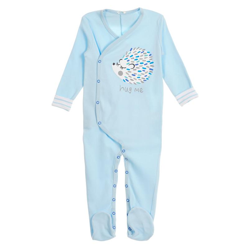 """Salopetă de bumbac """"Îmbrățișează-mă"""", marca Benetton pentru bebeluși, culoare albastru  213314"""