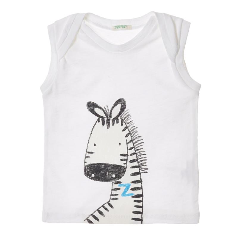 Bluză din bumbac fără mâneci albă pentru bebeluși  213336