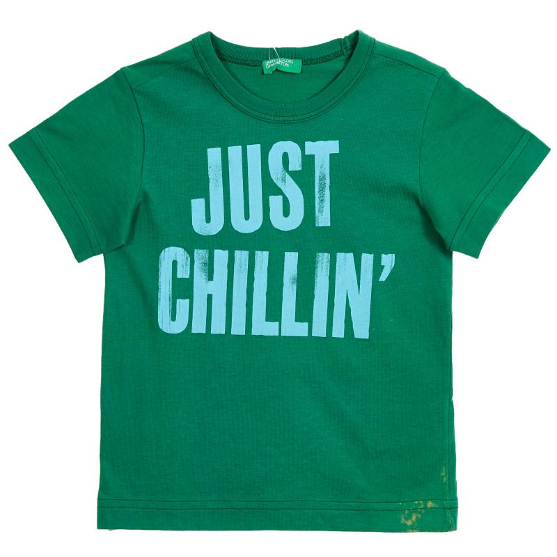 Bluză din bumbac verde cu mâneci scurte și inscripție  213450