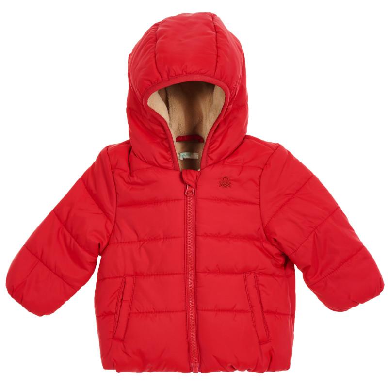 Geacă de iarnă cu căptușeală pentru un bebeluși cu logo brodat al mărcii, roșie  213552