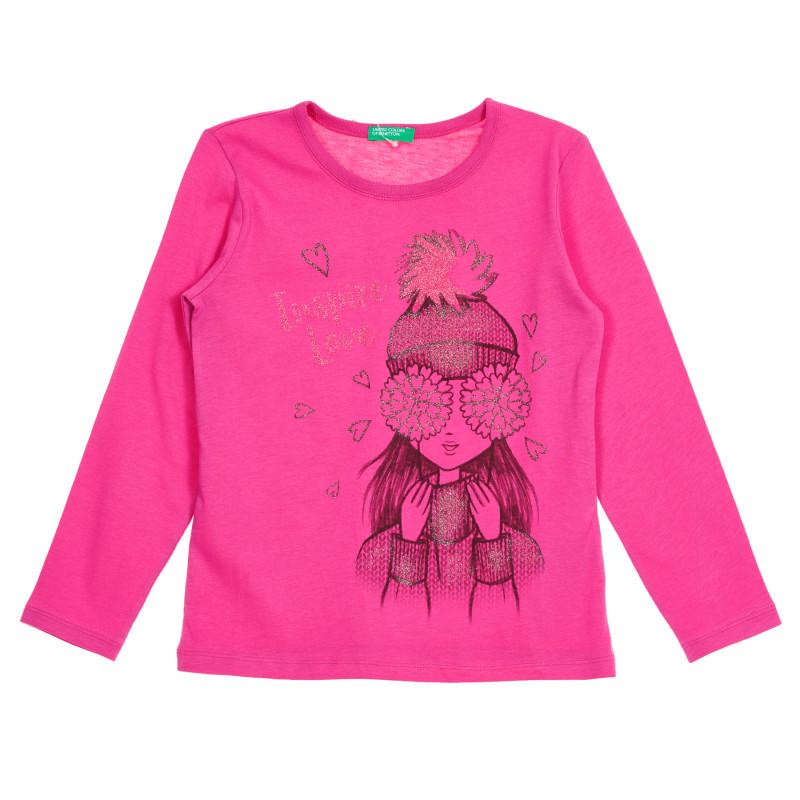 Bluză din bumbac roz cu mâneci lungi și imprimeu de brocart  213560