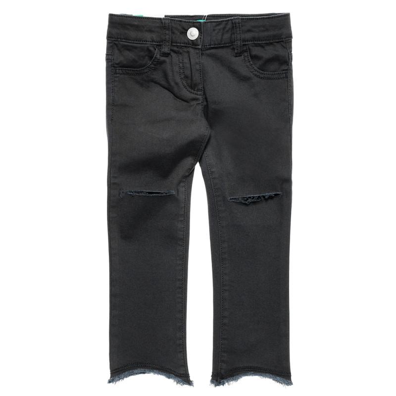 Blugi cu tăieturi la genunchi, pe negru  213658