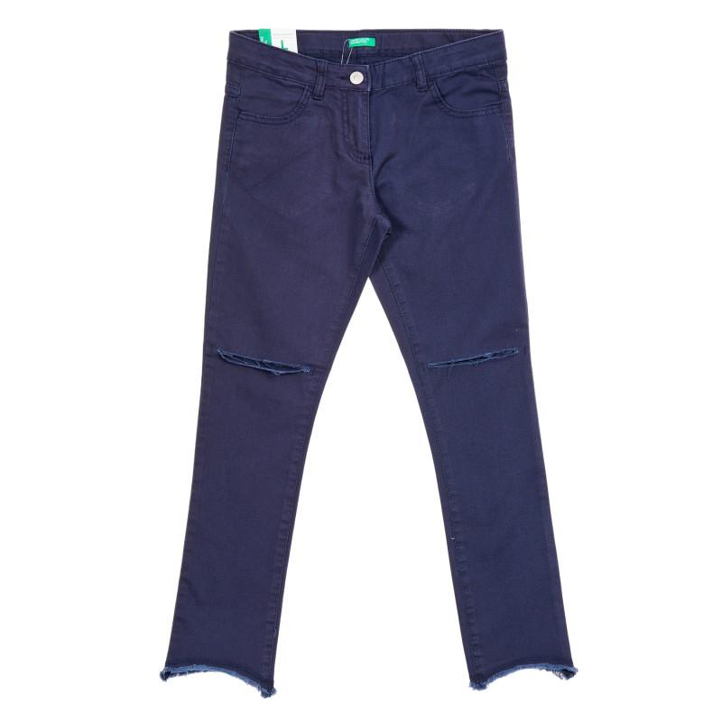 Blugi din bumbac cu tăieturi în genunchi, albastru închis  213674