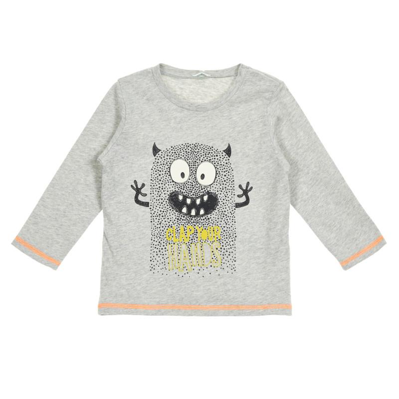 Bluză din bumbac cu mâneci lungi și imprimeu monstru pentru bebeluși, gri  213707