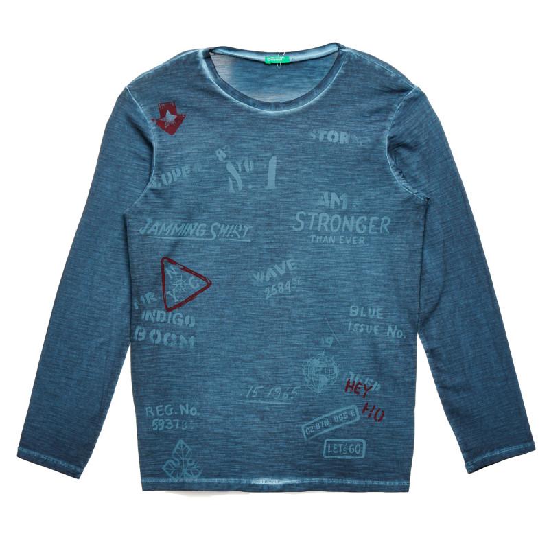 Bluză cu mâneci lungi și inscripție, albastru  213766