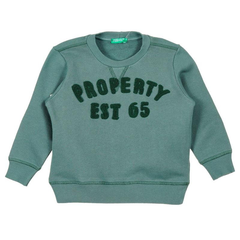 Bluză din bumbac verde cu aplicație  213770