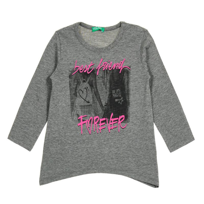 Bluză gri cu mâneci lungi și inscripție - cel mai bun prieten  213855