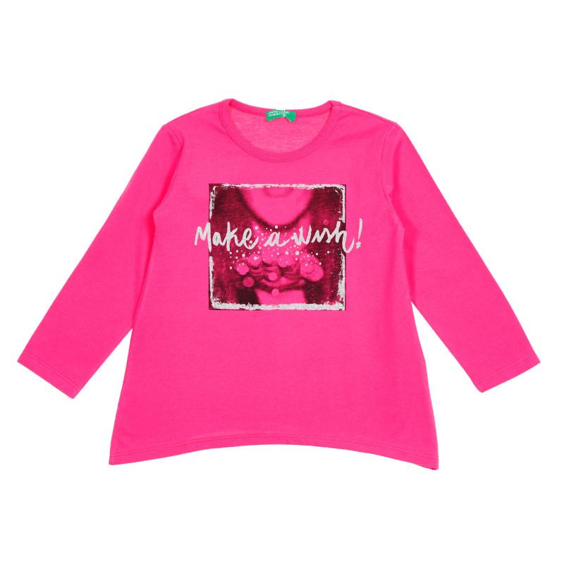Bluză roz cu mâneci lungi și imprimeu cu brocart  213871