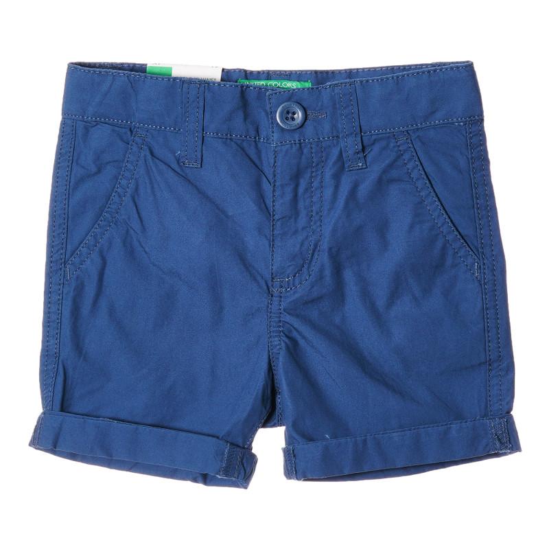 Pantaloni scurți din bumbac cu margini pliate pentru bebeluși, albastru  213991