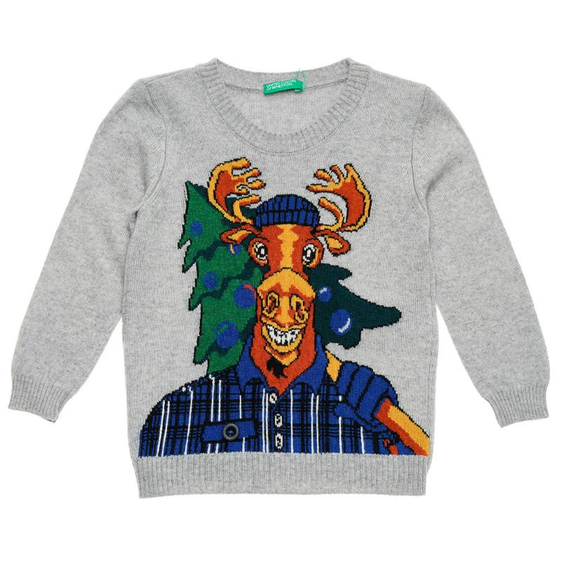 Pulover tricotat cu imprimeu căprioară pentru bebeluși, gri  214332