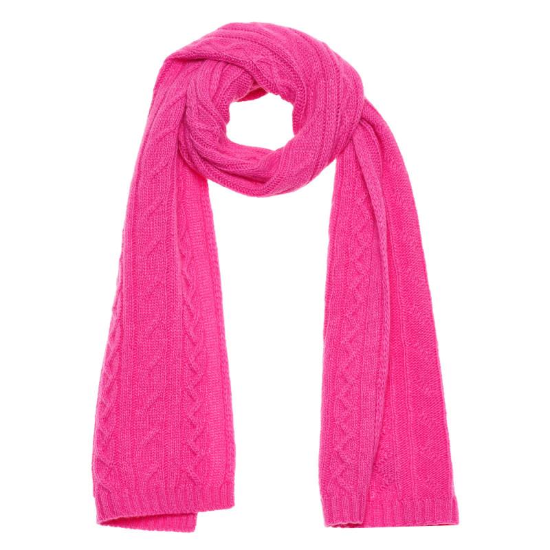 Eșarfă din lână cu relief, roz  214363