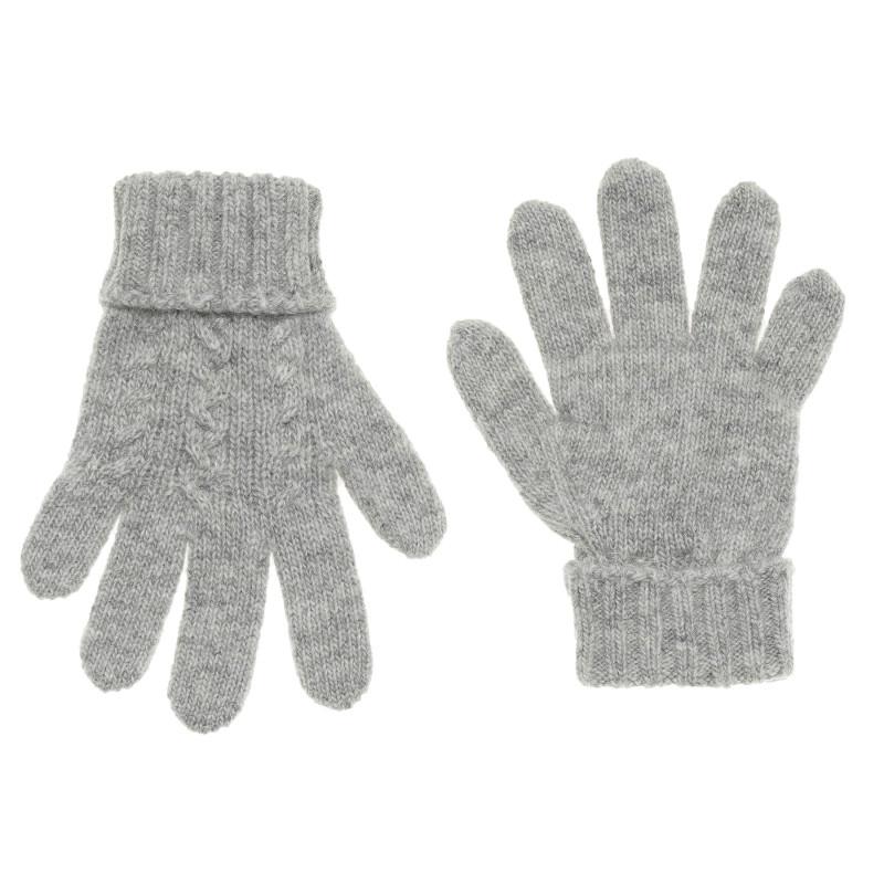 Mănuși de iarnă cu tricot în relief pentru bebeluși, gri  214375