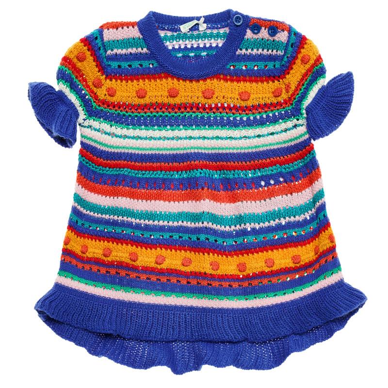 Rochie tricotată cu mâneci scurte pentru un bebeluși multicoloră  214377