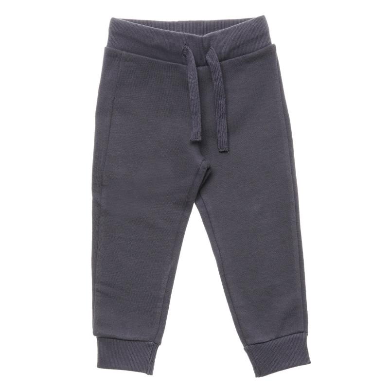 Pantaloni sport din bumbac cu șireturi, gri închis  214459