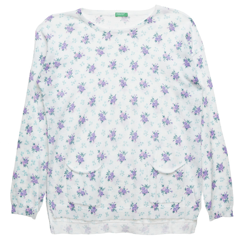 Pulover cu imprimeu floral, alb  214475