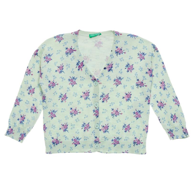 Cardigan cu imprimeu floral, verde deschis  214479