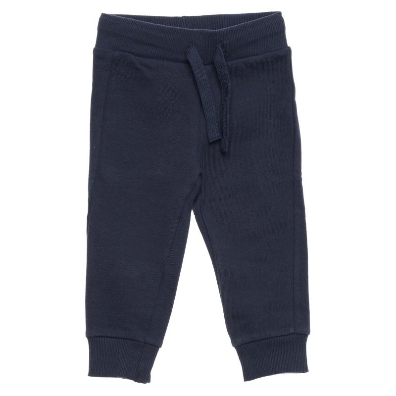 Pantaloni din bumbac cu logo inscripționat, albaștri  214511