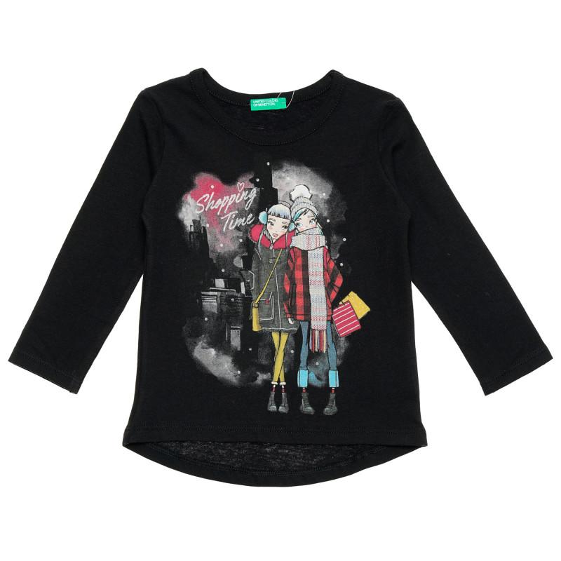 Bluză cu inscripția Shopping time, pentru un bebeluși, neagră  214542