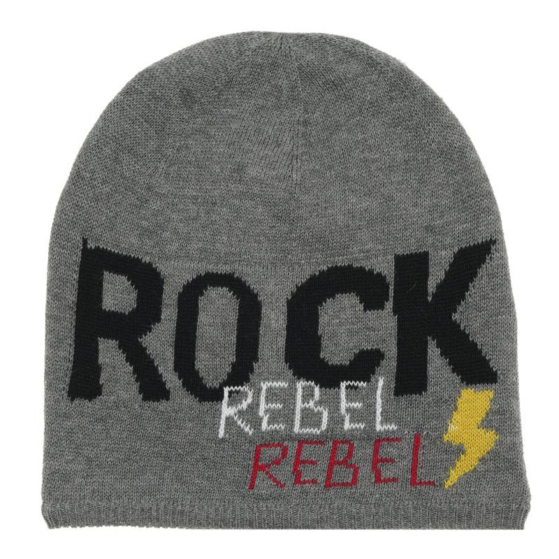 Căciulă de iarnă cu inscripția Rock rebel.  214570