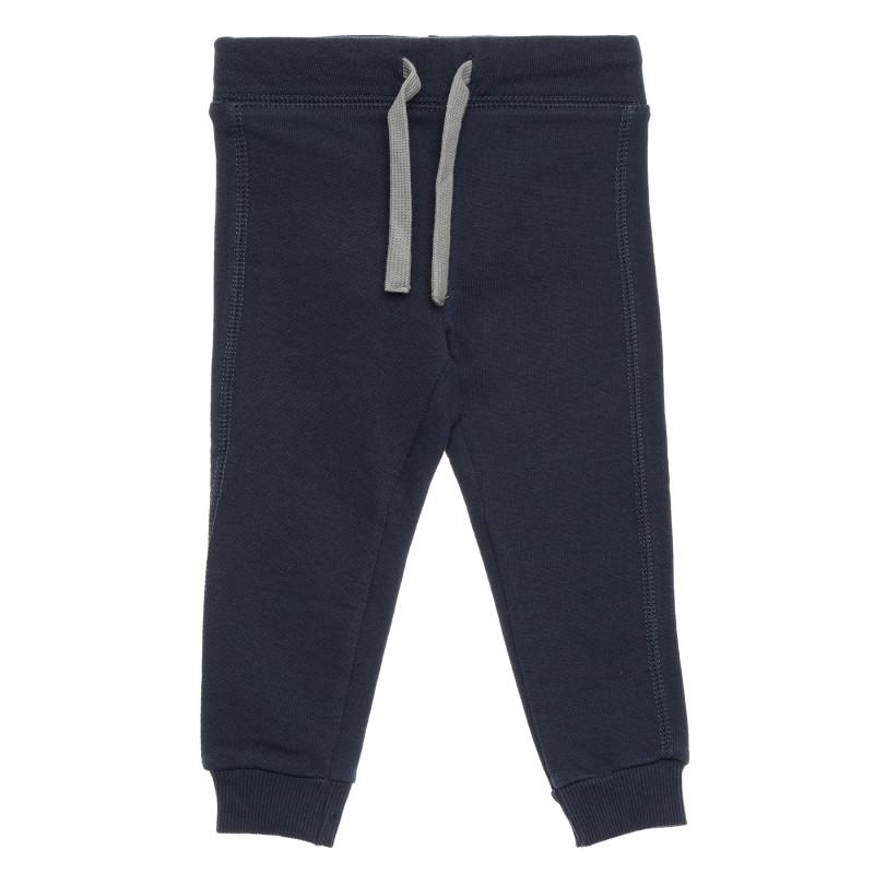 Pantaloni din bumbac cu logo inscripționat, albastru închis  214586