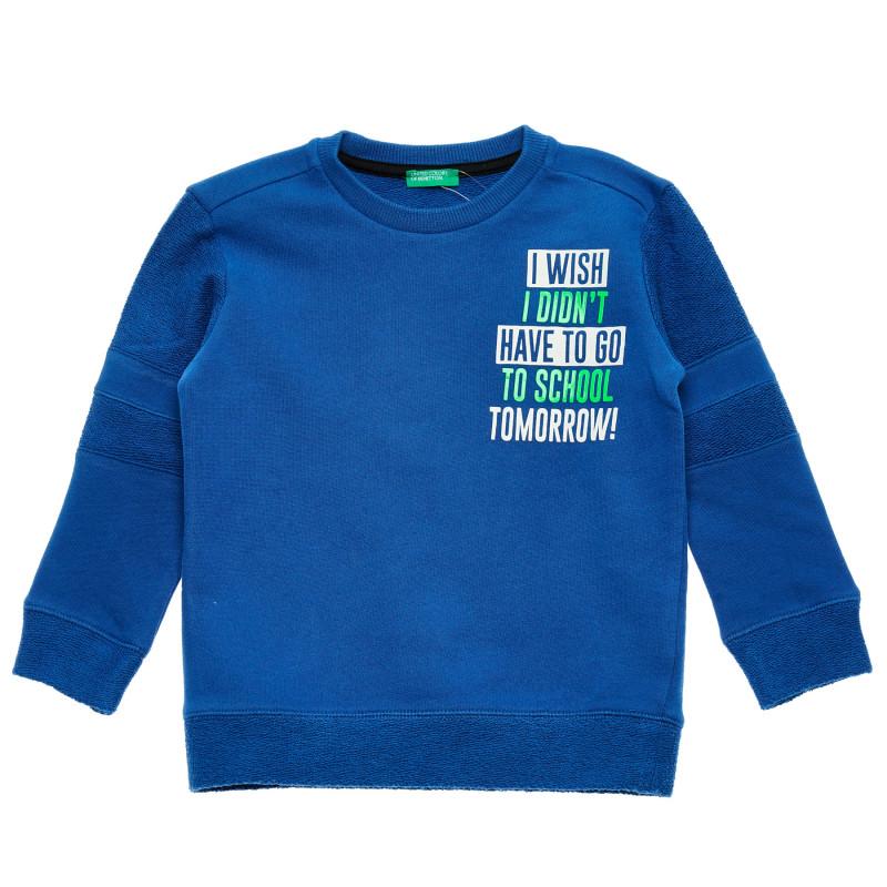 Hanorac de bumbac cu inscripția pentru bebeluși, albastru  214650