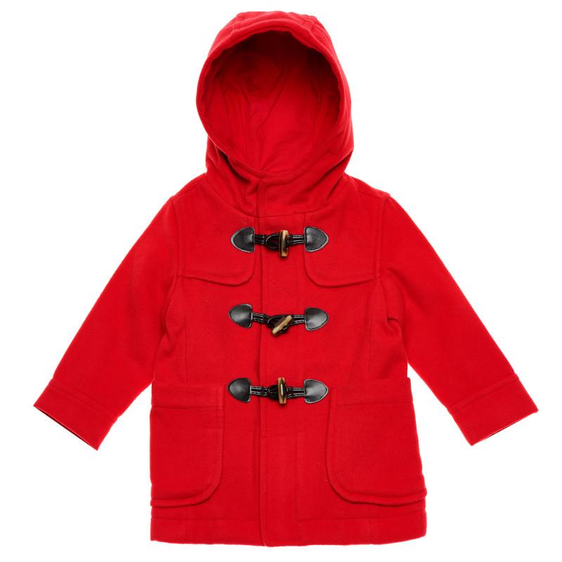 Palton cu glugă și nasturi, roșu  214707