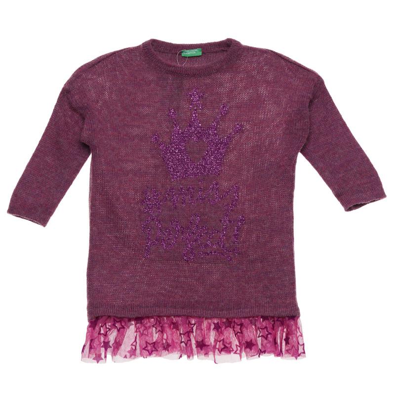 Pulover cu imprimeu de brocart și tul, violet  214731