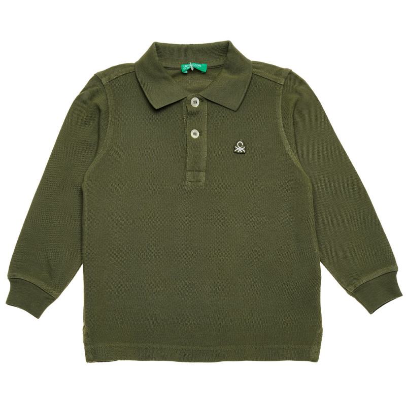 Bluză din bumbac cu mâneci lungi și sigla mărcii pentru bebeluși, verde închis  214780