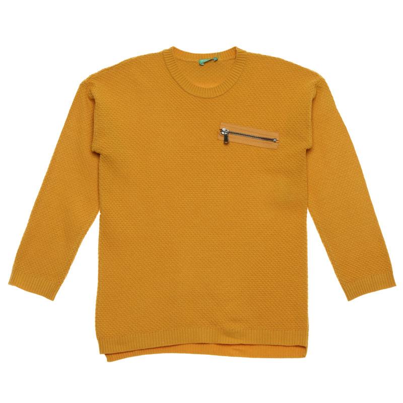 Bluză cu mâneci lungi și fermoar decorativ, maro  214788