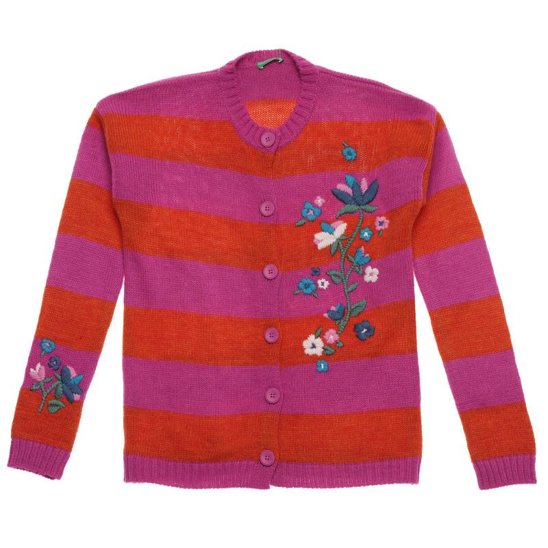 Cardigan brodat cu flori, multicolor  214800