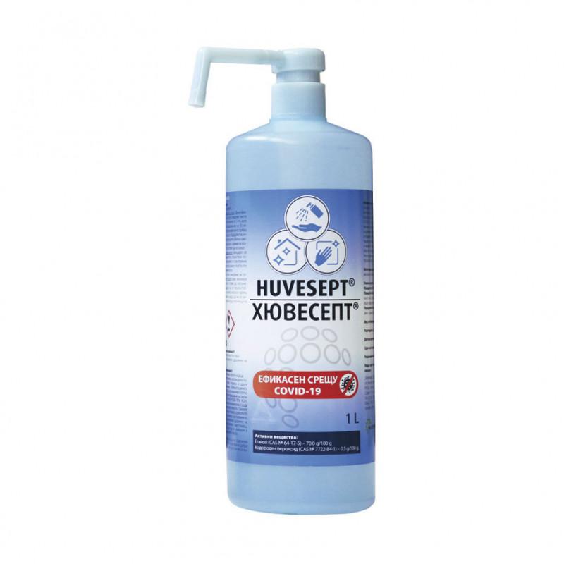 Dezinfectant Huvesept, alcool etilic 85%, flacon de 1 litru cu dozator  215033