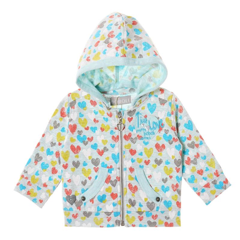Hanorac cu imprimeu inimă pentru bebeluși, albastru deschis  215622