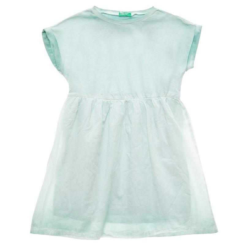 Rochie din bumbac cu talie elastică, culoarea mentă  215692