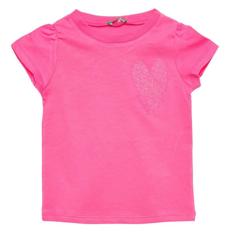Tricou din bumbac cu inimă, roz  215703