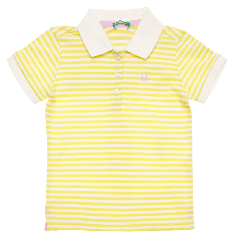 Bluză din bumbac cu mâneci scurte și logo-ul mărcii, multicoloră  215735