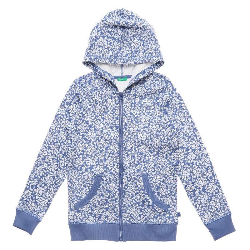 Hanorac din bumbac cu imprimeu floral, albastru  215739