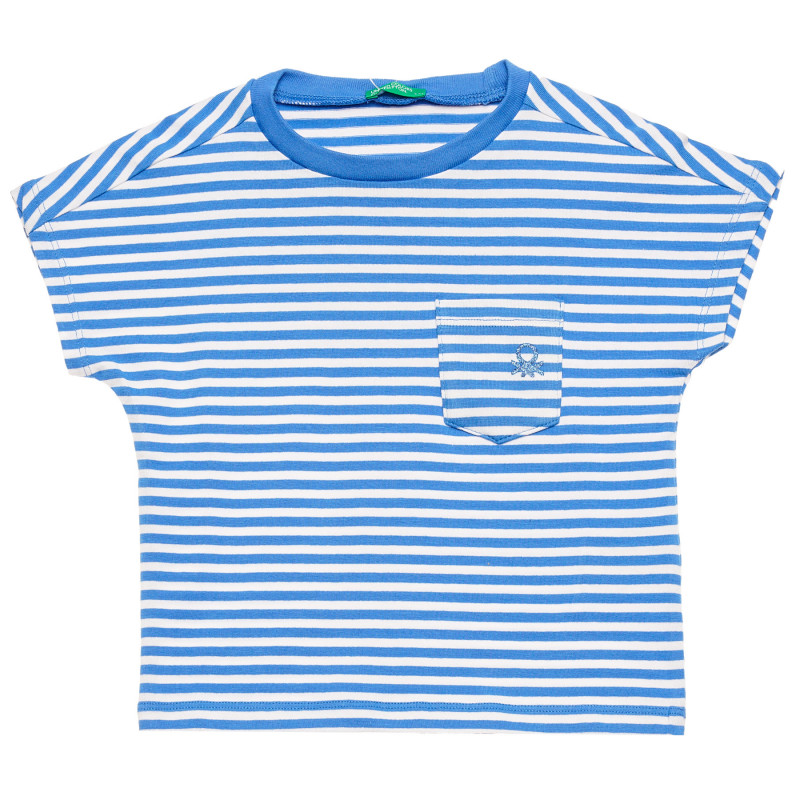 Bluză din bumbac cu mâneci scurte și sigla mărcii, alb și albastru  215767