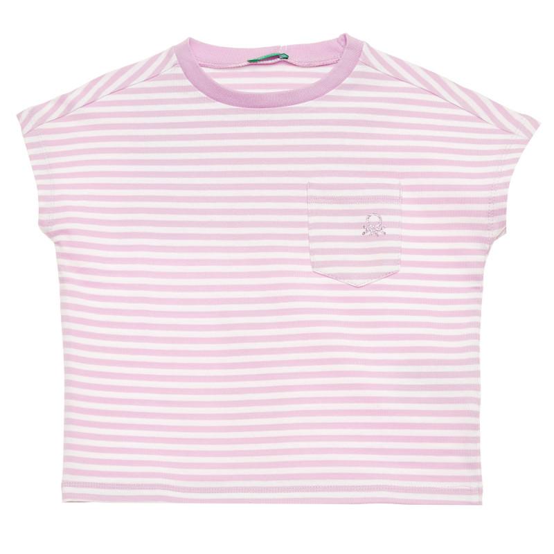 Bluză din bumbac cu mâneci scurte și sigla mărcii, alb și violet  215771