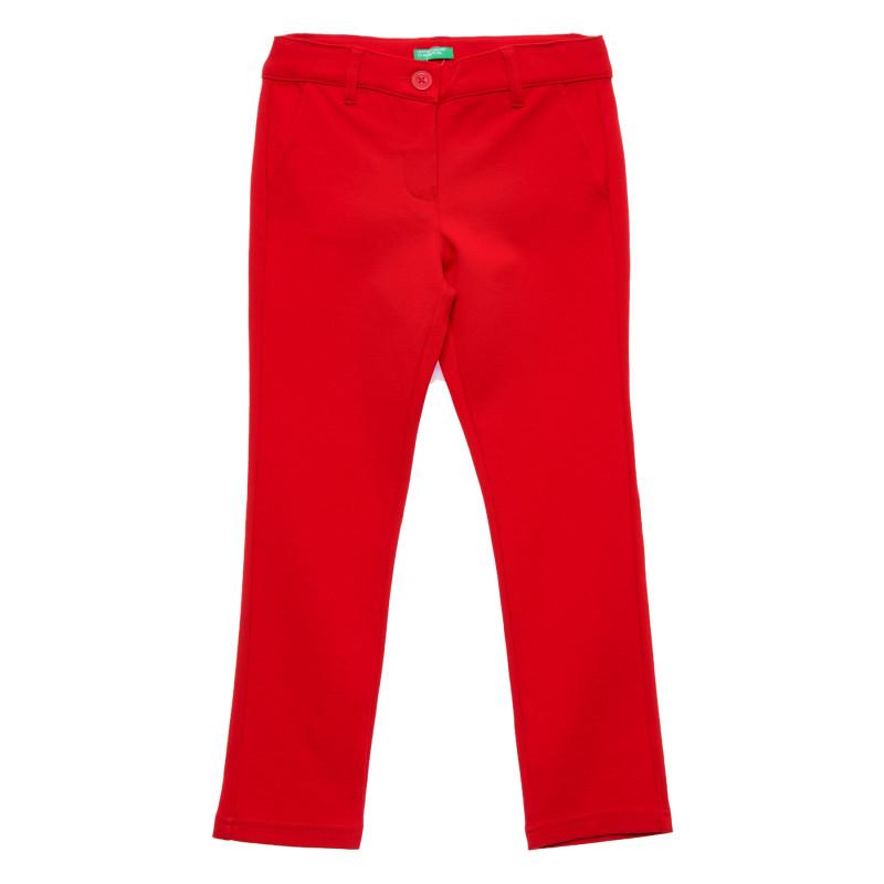 Pantaloni elastici cu buzunare decorative, roșii  215791