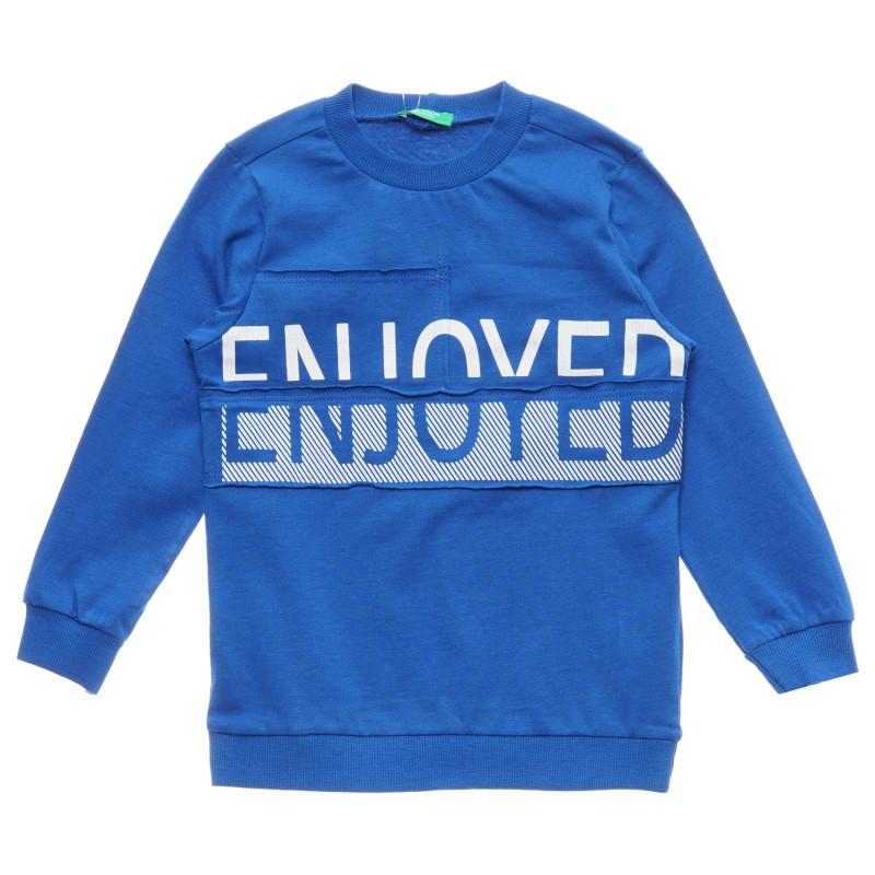 Bluză din bumbac cu mâneci lungi și inscripția Enjoyed, albastră  215803