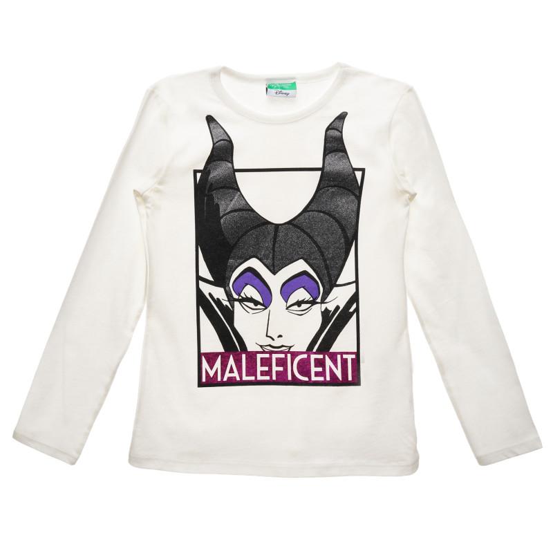 Bluză cu mâneci lungi și imprimeu Maleficent, albă  215814