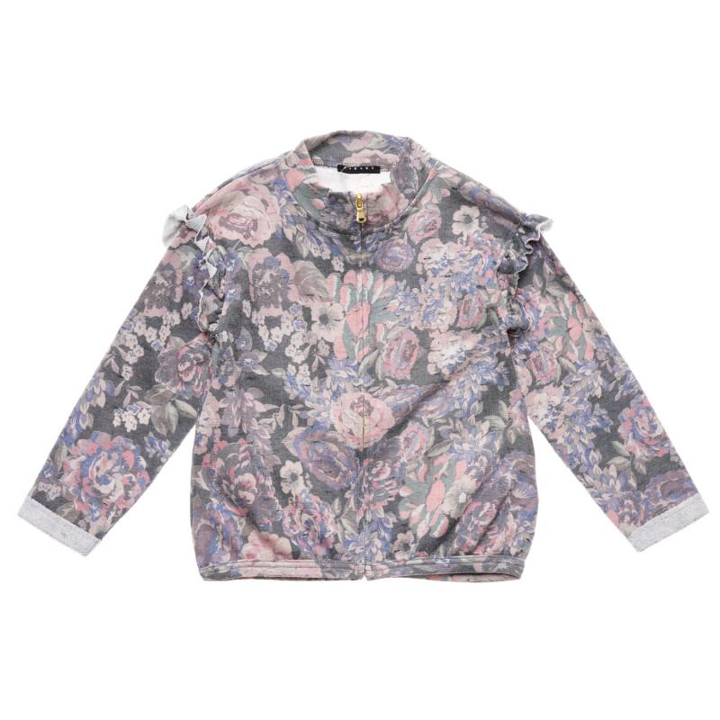 Cardigan cu imprimeu floral și bucle pe mâneci  215869