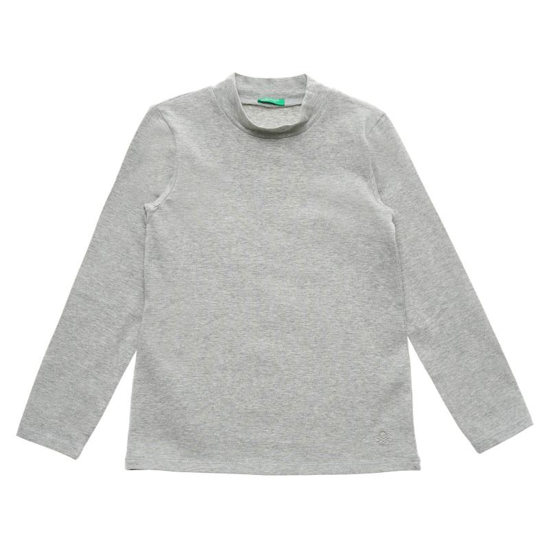 Bluză din bumbac cu guler polo, gri  215904