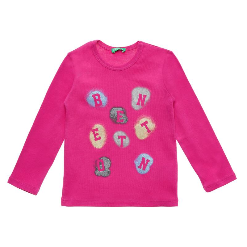 Bluză din bumbac cu inscripție logo, roz  215987