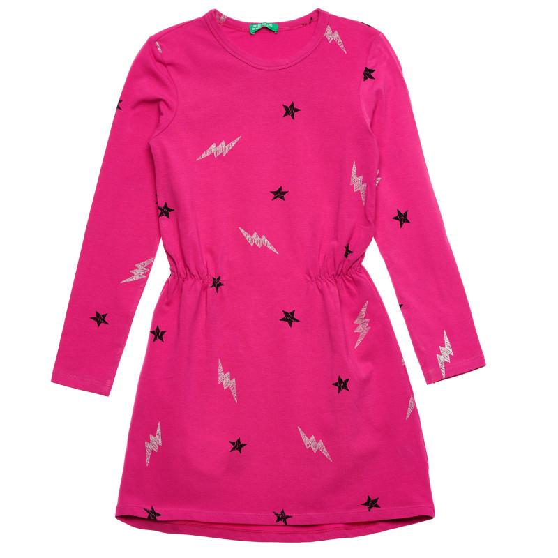 Rochie cu imprimeu figural, roz  215991