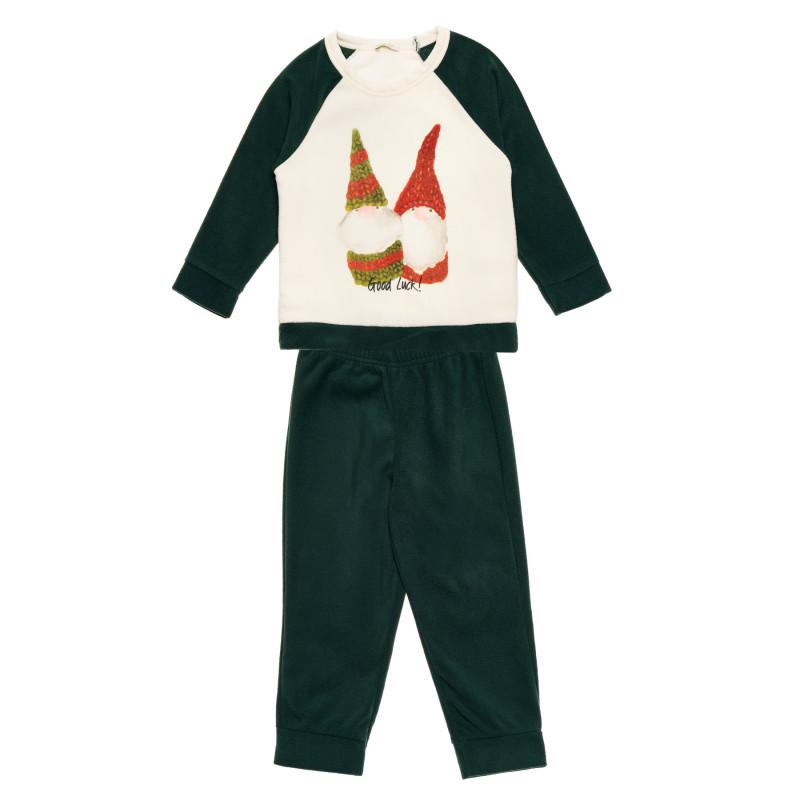 Pijamale polare în alb și verde pentru bebeluși  216008